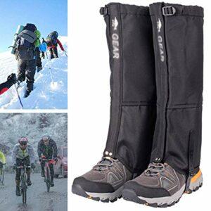 QIDIAN Guêtres de la Jambe de Neige, Tissu 620D Tissu de démarrage étanche Gaiters pour randonnée pédestre Escalade Ski de Chasse,Noir,M