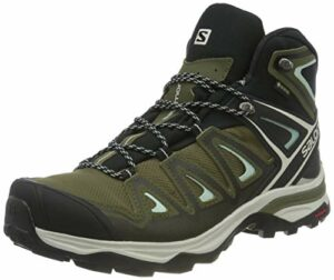 SALOMON X Ultra 3 Mid GTX W, Chausson d'escalade Femme, Olive Night Black ICY Morn, 36 2/3 EU