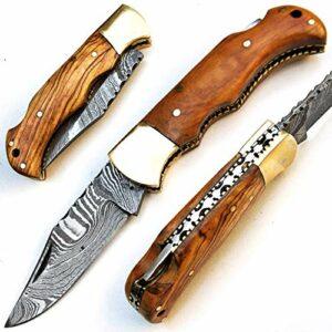 SBGA-9430 Couteau pliant avec lame en acier Damas fait à la main avec fourreau Manche en bois d'olivier de 17 cm – Billet de camping Chef Cuisine Randonnée Pêche Intérieur