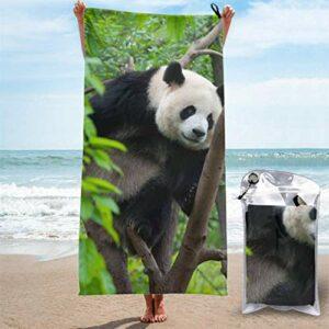 Serviette à séchage rapide Mignon Panda Bear Escalade Dans L'arbre Serviettes De Bain Pour Camping Serviette De Sport Garçons Léger, Séchage Rapide Et Absorbant Pour Camping, Voyage, Plage, Gym, Spor