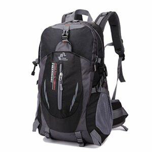 SHKY Randonnée Daypacks 40L, Sac de Montagne en Nylon Sac à Dos de résistance à l'eau, Sac de Sport en Plein air Ultra-léger pour Ordinateur Portable imperméable Hommes Femmes,Black,1