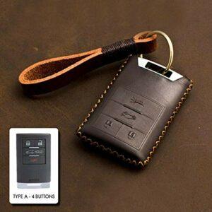 SJIUH Couverture de clé de Voiture,Housse en Cuir pour clé à Distance pour Cadillac Escalade CTS XTS DTS SLS 4/5 Boutons, Marron A