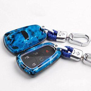SJIUHCas de clé de voitureÉtui de clé de Voiture pour Cadillac Escalade CTS ATS SRX Protéger Set Auto Holder Shell Accessoires Car-Styling Keychain Coloré, Bleu