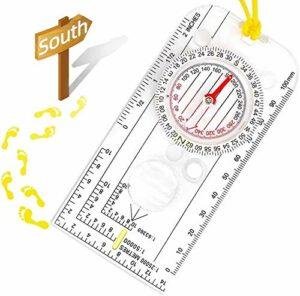 SLL Boussole de Navigation de Boussole Boussole de randonnée étanche à la Marche, avec lanière Jaune réglable Extérieur
