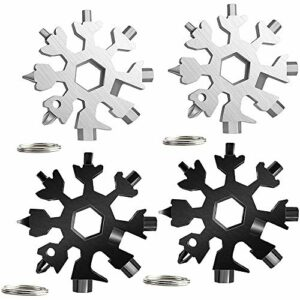 SNOWINSPRING Outil Multifonction Flocon de Neige 4 PièCes 18 en 1 avec Porte-CléS, Clé de VéLo Tournevis, pour L'Aventure de Camping de en Plein Air