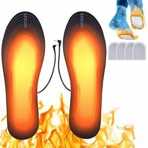 Suxman Semelles chauffantes, Semelle chauffante Electrique USB Taille Ajustable Chauffe Pied pour d'hiver pêche randonnée Camping Taille Peut être coupé et Lavable (S (35-40))