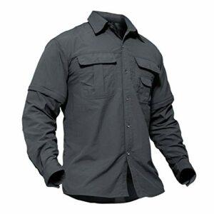 TACVASEN Chemise de Randonnée Homme Cargo Voyage Travail Shirt Manche Longue T-Shirt avec Poche Entraînement Protection UV Gris