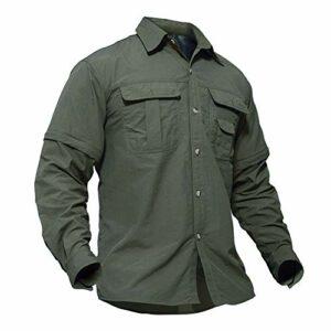 TACVASEN Chemise Outdoor Homme Camping Randonnée Shirt Pêche Chasse Escalade Montagne T-Shirt Chemise à Boutons Armée Vert