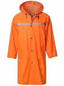 Veste Pluie Longue pour Hommes avec Bande Réfléchissante Étanche Réutilisable Randonnée Pêche Imperméable Manteau de Pluie Orange S