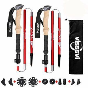 VISSSVI Bâtons de randonnée, Trekking 7075 en Aluminium – Bâtons de randonnée réglables de 110 à 125 cm et Fermeture par Serrage avec tampons en Caoutchouc pour Emballage Trekking (Rouge)