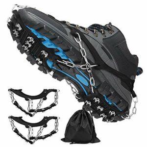 Wishstar Crampon, Semelles Crampons Anti Verglas avec 12 Dents Glace Traction Crampons Utilisé pour Les Chaussures de Randonnée, l'escalade, la Pêche, La Randonnée et Les Voyages