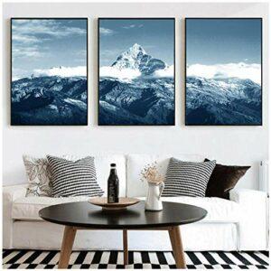 xwwnzdq Nature Neige Montagne Mur Art Paysage Toile Peinture Affiches et Impressions Photos pour Salon Chambre Décor 40×60 cm x 3 sans Cadre