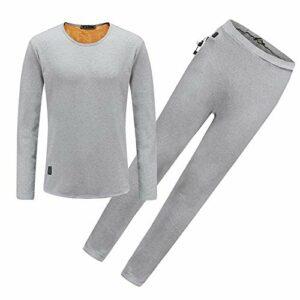 YFJBDKS USB sous-vêtement Thermique, Hommes Fiber de Carbone Chauffage Chaud Vêtements avec 4 Zones de Chauffage pour Plein Air Camping Ski Randonnée,Grayset,XL