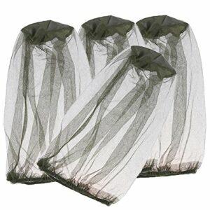 Yxaomite 4 Pièces Mosquito Head Net, Insect Repellent Netting pour Randonnée en Plein Air Camping Escalade à Pied Insectes de Mouche de Moustique Empêchant des Insectes (Vert)