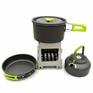 Yycj Batterie de Cuisine de Camping Ustensiles de Cuisine en Plein air Portables, en Plein air Randonnée Camping Pot Teapot Bois Combinaison Poêle