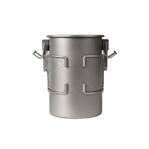 ZhengELE Titanium Camping en Plein air Pot de Cuisson avec poignées Pliantes Randonnée Cuisinière Pique-Nique Pique-Nique ustensile 900ml 256g