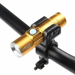 ACELEY Ensemble de phares avant de vélo super lumineux, rechargeable par USB IPX4, étanche, facile à installer pour route de montagne, convient à tous les vélos (doré)