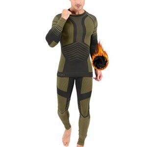 Aojo Ensemble de sous-Vêtements Thermiques Homme, Sport Base Layer sous-vêtements Thermiques Quick Dry Maillot Manches Longues + Pantalon pour L'entraînement Ski Running Randonnée
