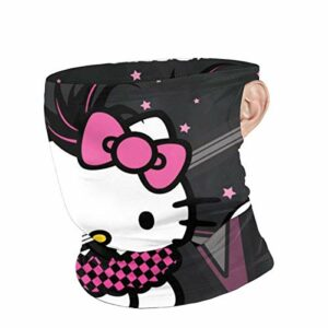 AQacum Masque facial Hello Kitty coupe-vent, foulard, cagoule, bandana style pirate, pour extérieur, festivals, sports, protection contre les rayons UV, pêche, randonnée, cyclisme, noir
