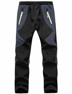 BenBoy Pantalon Randonnee pour Enfant Garçons Filles Outdoor Pantalon Ski Trekking Imperméable Softshell Thermique Pantalon de Montagne,KZ0008-Black-S