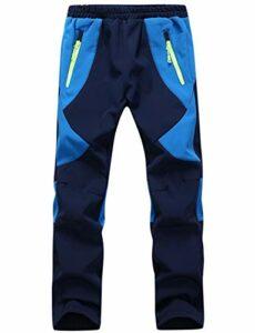 BenBoy Pantalon Randonnee pour Enfant Garçons Filles Outdoor Pantalon Ski Trekking Imperméable Softshell Thermique Pantalon de Montagne,KZ0008-Blue-XL