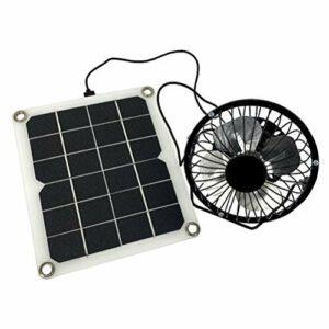 BESPORTBLE Chargeur de Panneau Solaire Monocristallin Portable de 10 W avec Station D'alimentation de Générateur Solaire de Secours de Ventilateur pour Le Camping D'activités de Plein Air