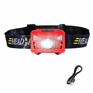 Capteur de Mouvement Capteur de Mouvement Induction USB Rechargeable Headlight 2 Modes de Commutation Lampe de Torche de Lampe de Poche pour Camping + Câble USB (Emitting Color : Red)