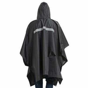 DAUERHAFT Combinaison imperméable imperméable, vêtements de Pluie Unisexes en Plein air Multi-usages Trois-en-Un Adulte, pour Moto Golf pêche randonnée(Noir)
