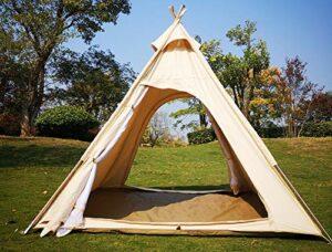 en Plein air 2 M Toile Camping Pyramide Tipi Tente Adulte Grand Indien Tente Tipi pour 2~3 Personne