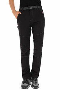 HAINES Pantalon Softshell Femme Impermeable Pantalon Randonnée Hiver Coupe-Vent Polaire Doublure Chaud Pantalon de Ski, Style 2: Noir, GR. EU-2XL