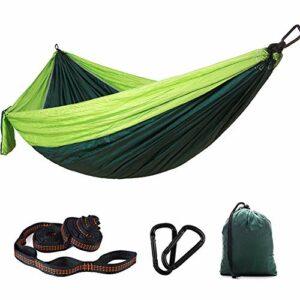 Hamac DZYP Hamac de camping, capacité de charge 200 kg, peut être utilisé pour la randonnée, la plage, l'aventure, convient pour les sacs à dos, le camping, les voyages, la plage. (Vert, 270 x 140 cm)