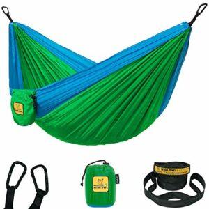Hamac pour Enfants pour Le Camping – Hibou Magique – Meilleure qualité pour la randonnée, Le Voyage ou Le Plaisir. Hamac en Nylon léger et Portable Vert et Bleu
