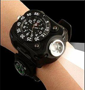 Hangang montre de poche éclairage LED R5rechargeable étanche LED montre de course, le meilleur pour les activités de montagne d'escalade Camping Randonnée Chasse de patrouille