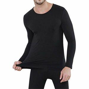 Homme/Femme sous-vêtements Thermiques Fluff Doublure – Ultra Chaud – Haut Maillot de Corps Pantalon Bas Hiver Ski Montagne Homme Noir L