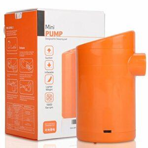Ichiias Mini gonfleur d'air, Mini Pompe portative portative électrique de gonfleur de Matelas de Camping Mini USB, Montagne extérieure pour la Route de(Direct Charge Version)