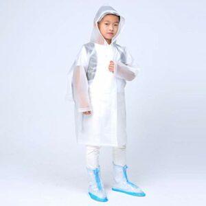 JMAR Sac a Dos Blanc Imperméable pour Enfants avec Chapeau Transparent en Matériau EVA Transparent avec Capuche Et Manches pour Camping Randonnée en Plein Air