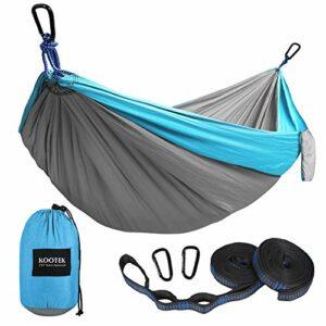 Kootek Homme/Femme avec 2 Sangles de Suspension Réglables Hamac Parachute Nylon Léger Double Camping Bleu Ciel/Gris L