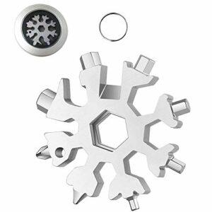 Outil multifonction pour flocon de neige 18 en 1, Outil Tout Puissant en acier inoxydable portatif pour les voyages quotidiens Camping Adventure Daily Tools (Argent)