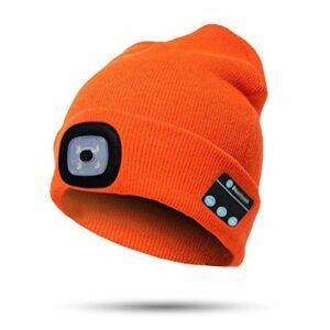 Oyria Bonnet d'hiver avec lumière LED – Bonnet chaud – Bluetooth – Sans fil – Casque audio – Haut-parleur pour extérieur, camping, nuit, course à pied, pêche