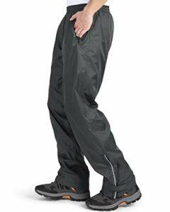 Pantalon de pluie imperméable pour homme – Pantalon de pluie léger et coupe-vent – Pantalon d'extérieur pour la randonnée, le camping, le golf – Gris XXL – 32 l