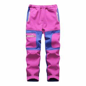 Pantalons de Randonnée Garçon Fille – Pantalon Softshell Enfant – Pantalon Coupe Vent Imperméable Doublé Polaire Hiver pour Escalade Trekking Softshell Thermique Pantalon de Montagne,Pink,150