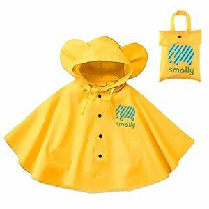 Poncho de pluie à capuche pour enfant – Capes de pluie mignon animal unisexe imperméable à l'eau une pièce pour le sport, l'équitation, le camping, les voyages en plein air, 80 à 100 cm jaune