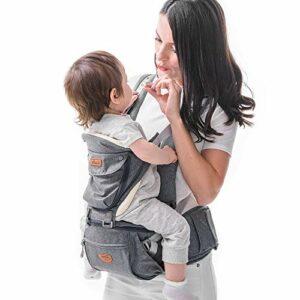Porte-bébé Ergonomique avec Siège de Hanche- SUNVENO Porte-bébé Randonnee avec Sangle Amovible,Porte-bebe Physiologique avec Tabouret 0-36 Mois,5 Positions et 3 en 1 Usages,0-20KG, Gris