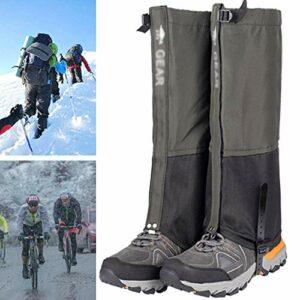 QIDIAN Guêtres de la Jambe de Neige, Tissu 620D Tissu de démarrage étanche Gaiters pour randonnée pédestre Escalade Ski de Chasse,Vert,L