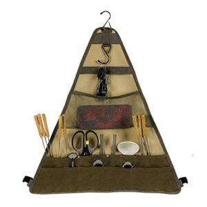 Sac Triangulaire De Rangement pour Cuisine Extérieure, Sac à Suspendre avec 14 Poches pour Ustensiles De Cuisine, pour Le Camping Et BBQ, Oxford Kaki 55 * 59cm