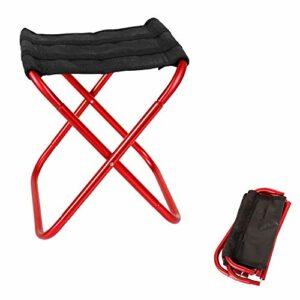 Seully Tabouret Pliant D'extérieur Portable, Petite Chaise de Camping en Aluminium Ultraléger, Support en 100 kg, Pêche/Camp/Voyage/Randonnée/Pique-niques, 30 x 27,5 x 31 cm (Rouge)