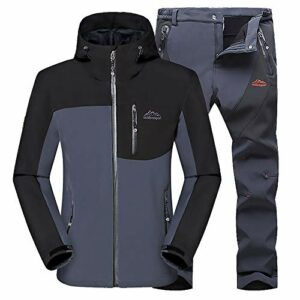 Sugöns Hommes Veste Montagne Pantalon Imperméable Veste De Ski Manteau Coupe-Vent Hiver Chaud Hiver Neige Pluie pour Camping Hikng Voyage Escalade Sport (Gray Coat Gray Pants,5XL)