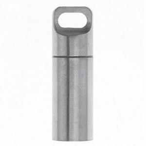 SuperglockT Mini boîte à pilules étanche en acier inoxydable – Avec porte-clés – Pour randonnée, camping, escalade – Taille moyenne (4,8 x 1,55 cm)