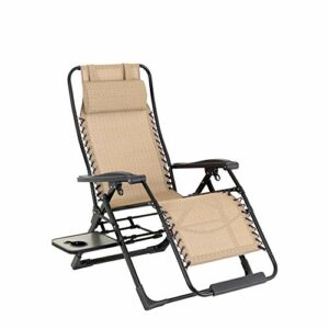 Tabouret Pliant for Patio, Piscine avec Porte-gobelet et Pillow Chair Portable Zero Gravity Lounge Recliners Pêche Randonnée Pique-Nique Chaise de Jardin Barbecue