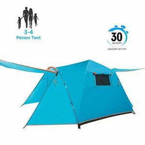 Tente Escamotable étanche Portable avec Tente De Camping en Porche Double Couche 3~4 Personnes Tente Familiale Couche pour La Randonnée en Plein Air